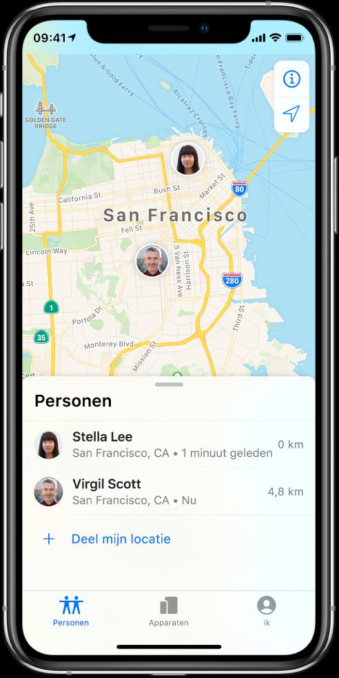Er staan twee vrienden in de lijst 'Personen': Stella Lee en Virgil Scott. Hun locaties worden op een kaart van San Francisco weergegeven.