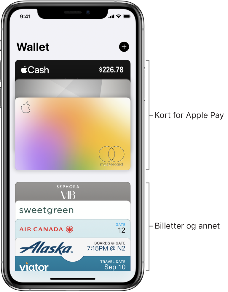 Wallet-skjermen som viser den øverste delen av flere kreditt- og debetkort og billetter.