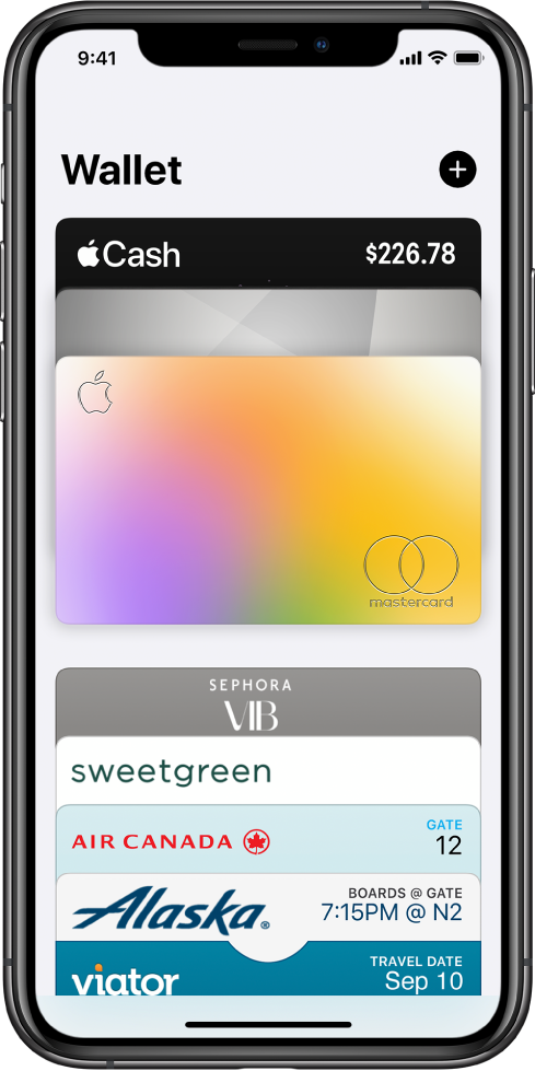 Uma tela do app Wallet. Na parte superior da tela estão três cartões de crédito. Na parte inferior da tela estão vários tíquetes de companhias aéreas e passeios turísticos.