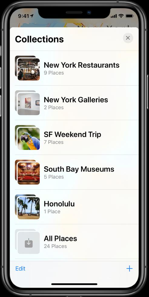 Uma lista de coleções no app Mapas. As coleções, de cima para baixo, são Restaurantes de Nova York, Galerias de Nova York, Viagem de fim de semana para São Francisco, Museus de South Bay, Honolulu e Todos os Lugares. Na parte inferior esquerda está o botão Editar e, na parte inferior direita, o botão Adicionar.