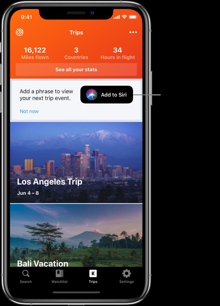 """O ecrã de uma aplicação de viagens. O botão """"Adicionar a Siri"""" encontra-se à direita do texto """"Adicionar uma expressão para ver o seu próximo evento de viagens""""."""