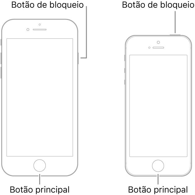 Ilustrações de dois modelos do iPhone com os ecrãs virados para cima. Ambos têm um botão principal na parte inferior do dispositivo. O modelo mais à esquerda tem um botão de bloqueio na extremidade direita do dispositivo, junto à parte superior, ao passo que o modelo mais à direita tem um botão de bloqueio na parte superior do dispositivo, perto da extremidade direita.