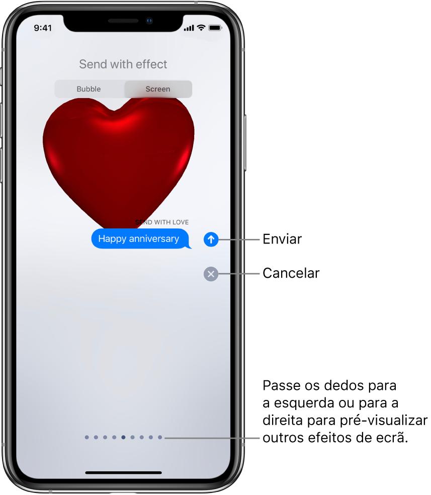 Pré-visualização de um efeito de ecrã completo com um coração vermelho.