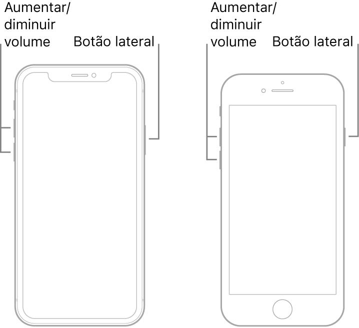 Ilustrações de dois modelos do iPhone com os ecrãs virados para cima. O modelo mais à esquerda não tem botão principal, ao passo que o modelo mais à direita tem um botão principal na parte inferior do dispositivo. Em ambos os modelos, os botões de aumentar e reduzir o volume estão no lado esquerdo do dispositivo, havendo um botão lateral no lado direito.