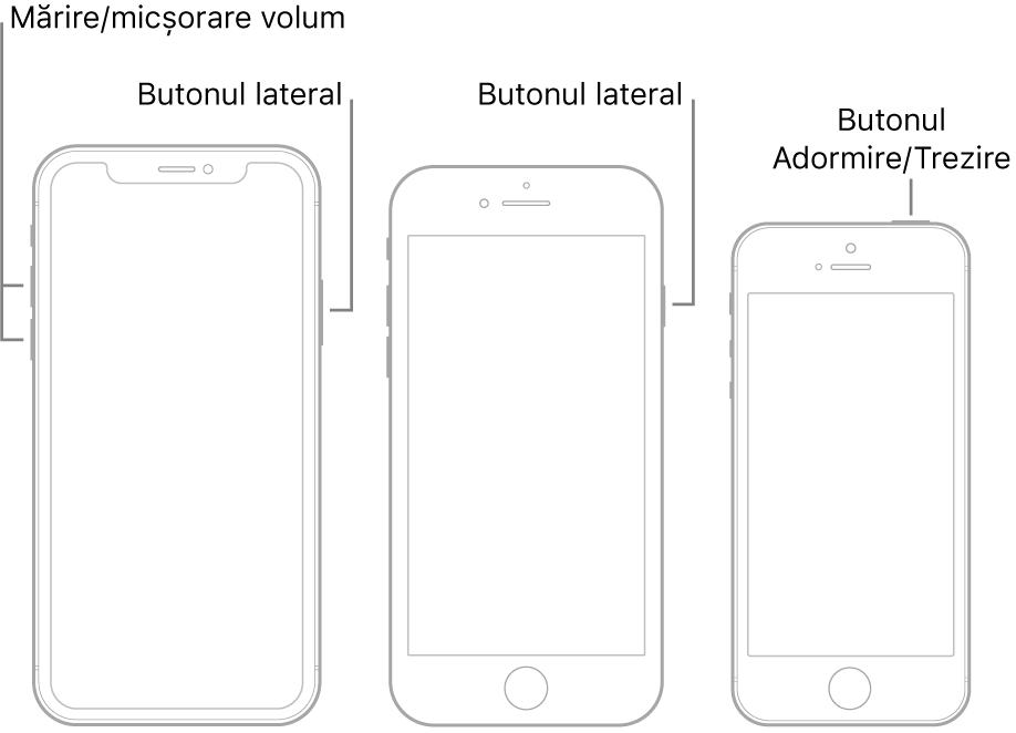 Ilustrații cu trei tipuri de modele de iPhone, toate cu ecranele îndreptate în sus. Ilustrația din stânga prezintă butoanele de mărire și de micșorare a volumului de pe partea stângă a dispozitivului. Butonul lateral este afișat în partea dreaptă. Ilustrația din mijloc prezintă butonul lateral din dreapta dispozitivului. Ilustrația din dreapta prezintă butonul Adormire/Trezire din partea de sus a dispozitivului.