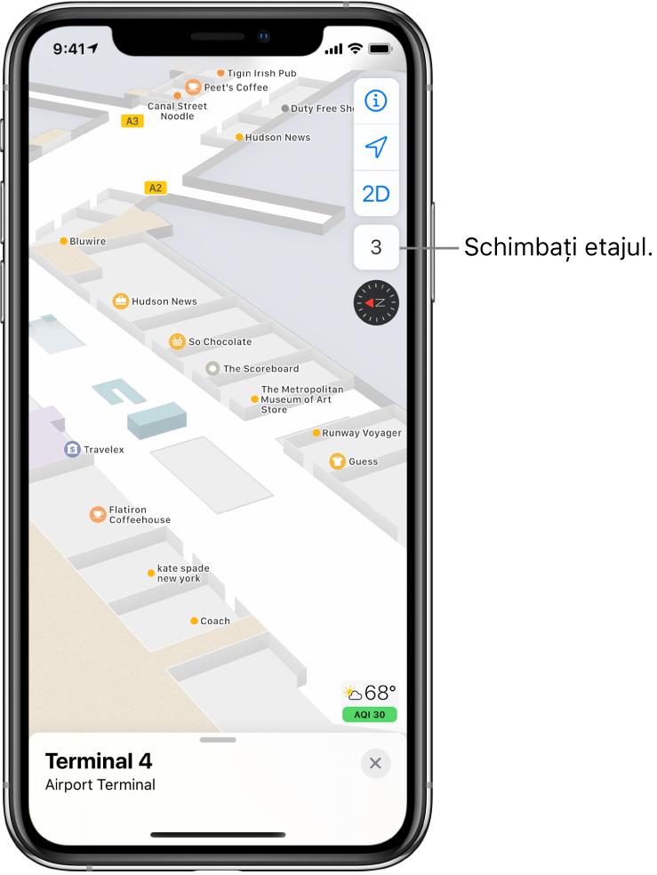 Harta interiorului unui terminal de aeroport. Harta afișează companiile și porțile de îmbarcare.