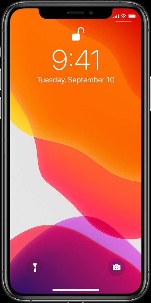 Экран блокировки с панелью в нижней части экрана, которая обозначает, что можно смахнуть от нижнего края вверх.