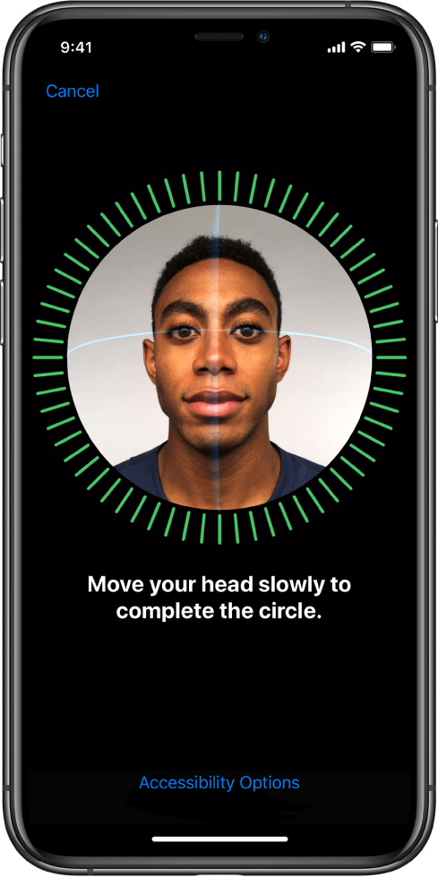 En skärm som visar inställningsprocessen för Face ID.