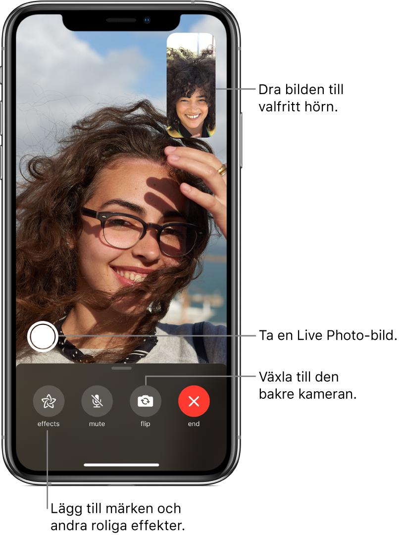 FaceTime-skärmen med ett samtal som pågår. Din bild visas i en liten rektangel i det övre högra hörnet och bilden på den andra personen fyller resten av skärmen. Längst ned på skärmen finns knapparna för effekter, stänga av ljudet, byta kamera och avsluta. Ovanför dem finns knappen för att ta en LivePhoto-bild.