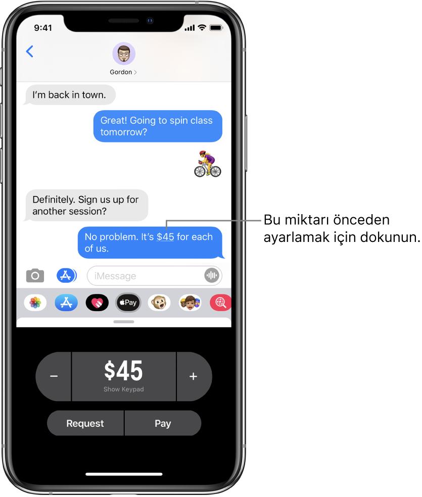 Alt kısımda Apple Pay uygulamasının açık olduğu bir Mesajlar yazışması.