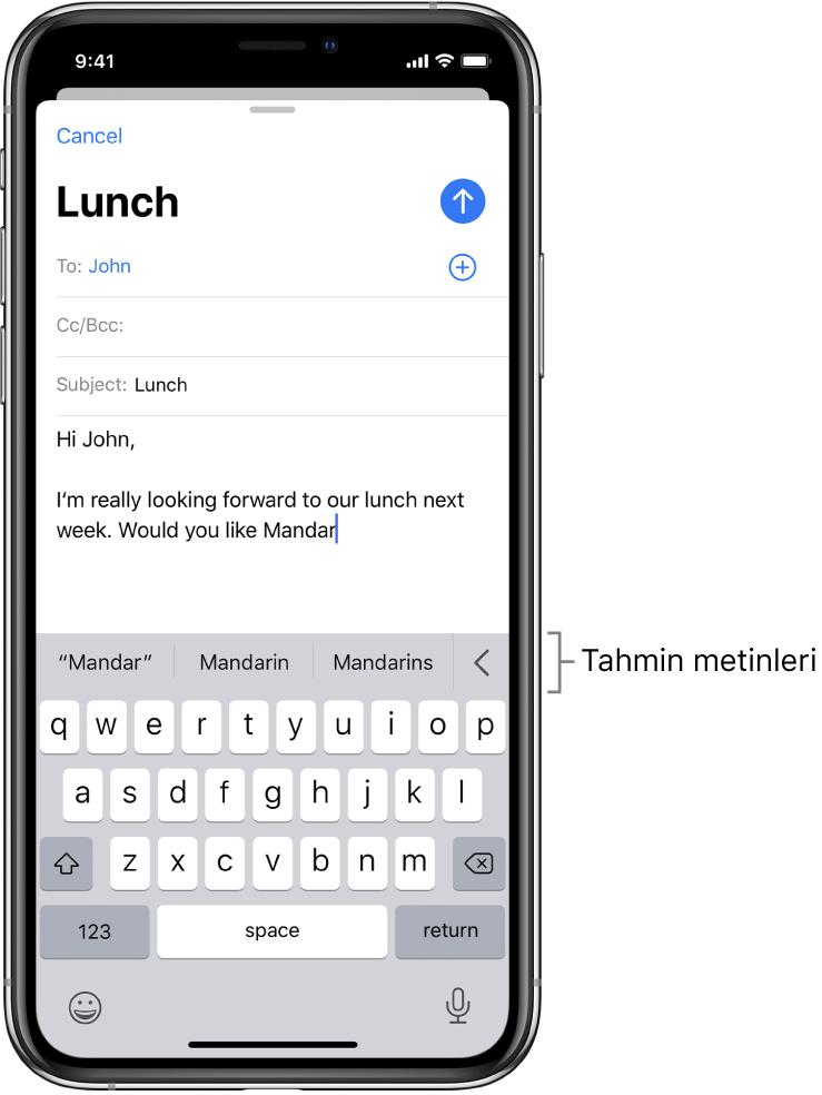 Yeni bir iletinin ilk birkaç sözcüğünü, bir sonraki sözcüğü tamamlamaya yönelik önerilerle birlikte gösteren Mail iletisi.