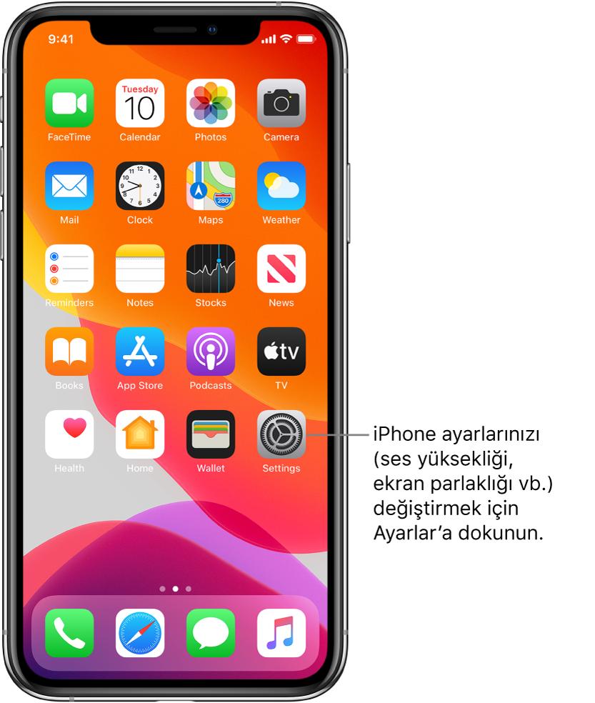 iPhone'unuzun ses yüksekliğini, ekran parlaklığını ve daha birçok şeyi değiştirmek için dokunabileceğiniz Ayarlar simgesi de dahil olmak üzere birçok simgenin bulunduğu ana ekran.