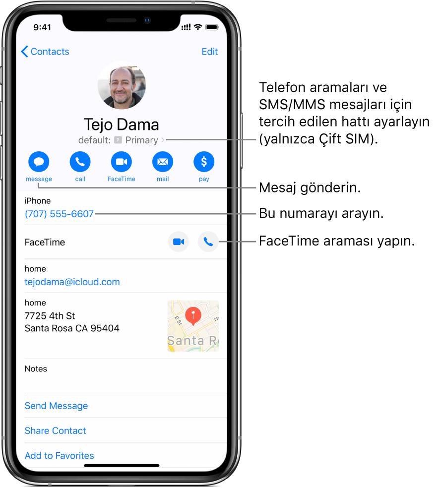 Kişi için bilgi ekranı. Kişinin fotoğrafı ve adı en üsttedir. Altında mesaj gönderme, telefon araması yapma, FaceTime araması yapma, bir e-posta gönderme ve Apple Pay ile para gönderme düğmeleri var. Düğmelerin altında iletişim bilgileri yer alır.