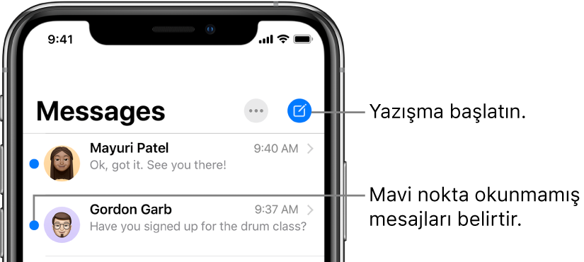 Sol üstte Düzenle düğmesi ve sağ üstte Oluştur düğmesi ile Mesajlar listesi. Mesajın solundaki bir mavi nokta mesajın okunmadığını belirtir.