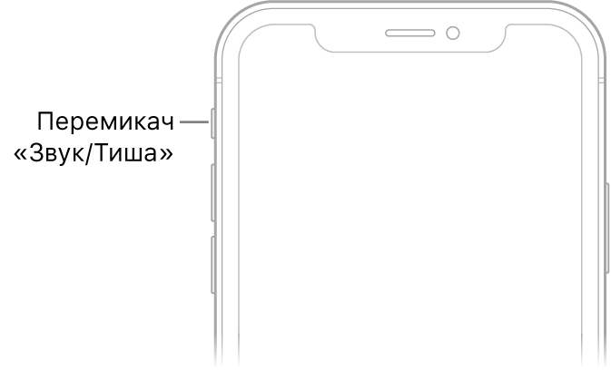 Верхня частина передньої панелі iPhone з виноскою, що вказує на перемикач «Звук/Тиша».