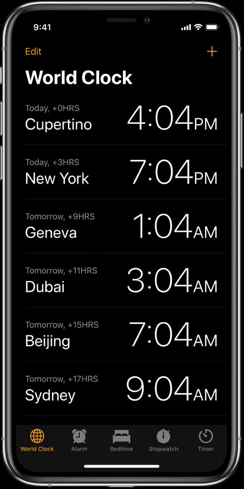 「世界時鐘」分頁,顯示各個城市的時間。點一下左上角的「編輯」來排列時鐘。點一下右上角的「加入」按鈕來加入更多時鐘。「鬧鐘」、「就寢時間」、「秒錶」和「計時器」按鈕排列在底部。