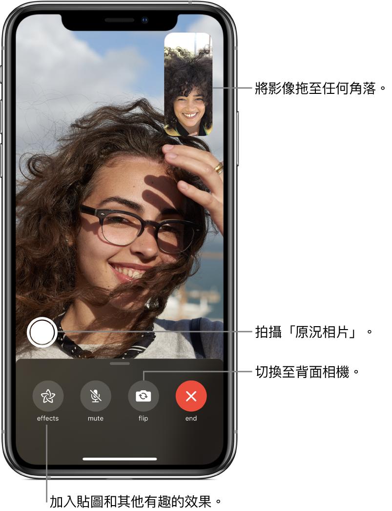 FaceTime 畫面顯示進行中的通話。你的影像會顯示在右上角的小長方形中,對方的影像則會填滿螢幕的其餘部份。螢幕底部依序為「效果」、「靜音」、「切換相機」和「結束」按鈕。拍攝「原況相片」的按鈕位於這些按鈕上方。