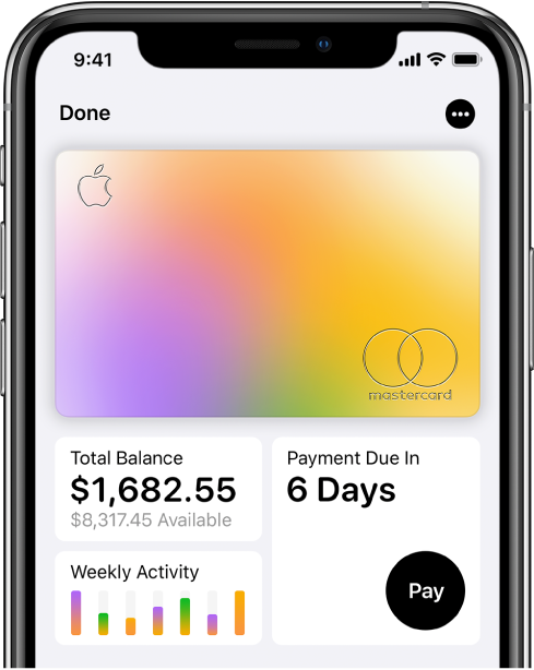 「銀包」中的 Apple Card,在最上方顯示「更多」按鈕,在左下方顯示總結欠及每週活動,並在右下方顯示「還款」按鈕。