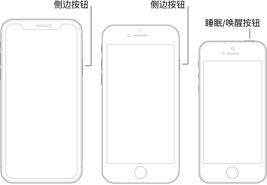 三种不同的 iPhone 机型上的侧边按钮或睡眠/唤醒按钮。