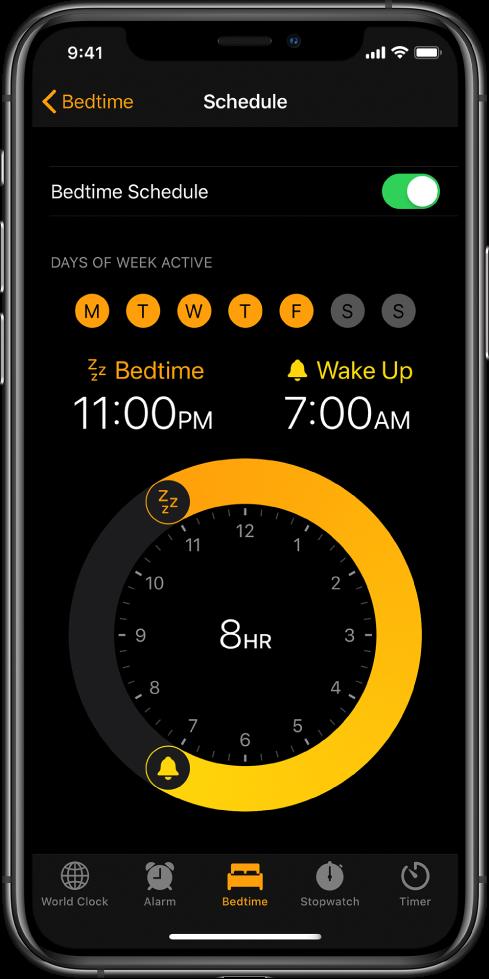 """""""时钟"""" App 中的""""就寝""""按钮被选中,显示晚上 11 点的就寝时间和早上 7 点的起床时间。"""