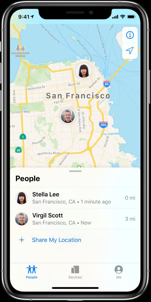 """""""联系人""""列表中有两位好友,分别是:Stella Lee 和 Virgil Scott。他们的位置显示在旧金山地图上。"""
