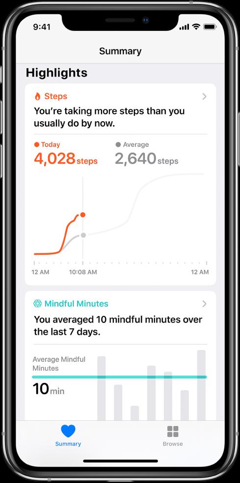 """""""健康"""" App 中的""""摘要""""屏幕,显示了这一天所走步数的提要。提要内容为""""到现在为止,您完成的步数比往常多""""。提要下方的图表显示:今天目前已经走了 4028 步,昨天同期的步数为 2640 步。图表下方是正念分钟数相关信息。左下方是""""摘要""""按钮,右下方是""""浏览""""按钮。"""