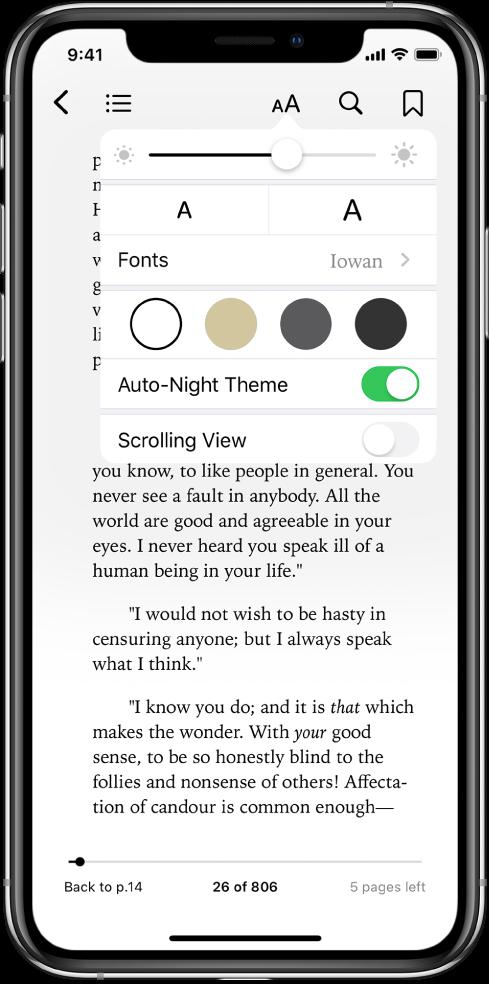 外观菜单,从上到下依次显示亮度、字体大小、字体、页面颜色、自动启用夜间主题和滚动视图的控制。