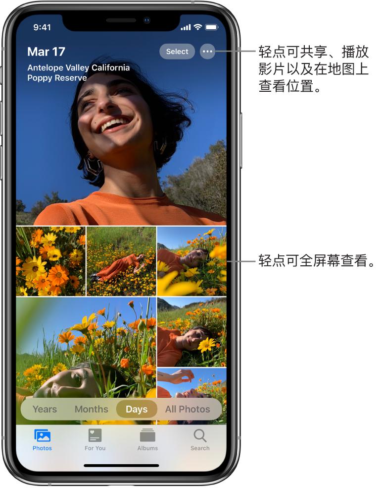 """以""""日""""视图显示的照片图库。所选照片缩略图填满屏幕。屏幕左上方是照片的拍摄日期和位置。右上方是""""选择""""和""""更多选项""""按钮,用于共享照片和查看详细信息。缩略图下方是按""""年""""、""""月""""、""""日""""以及""""所有照片""""来查看照片图库的选项。底部依次是""""照片""""、""""为你推荐""""、""""相簿""""和""""搜索""""标签。"""