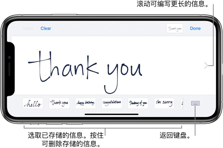 """显示手写信息的手写屏幕。底部从左到右依次是已存储的信息和""""显示键盘""""按钮。"""