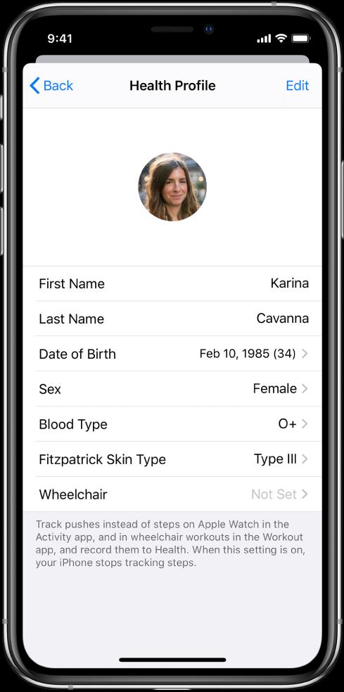 """一名 34 岁女性(O+ 型血)的""""健康资料""""屏幕。"""