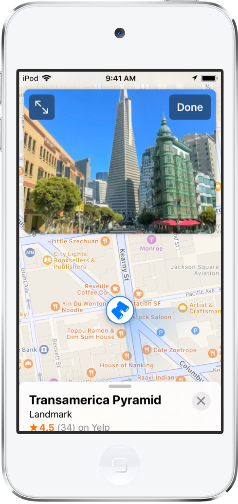 A view of a street leading to the Transamerica Pyramid building appears above a map of the area.