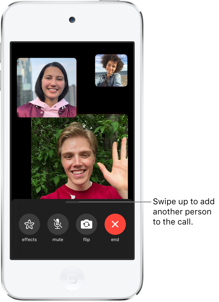 A group FaceTime call with three participants, including the originator. Each participant appears in a separate tile, with larger tiles indicating the more active participants. The controls at the bottom of the screen are effects, mute, flip, and end.