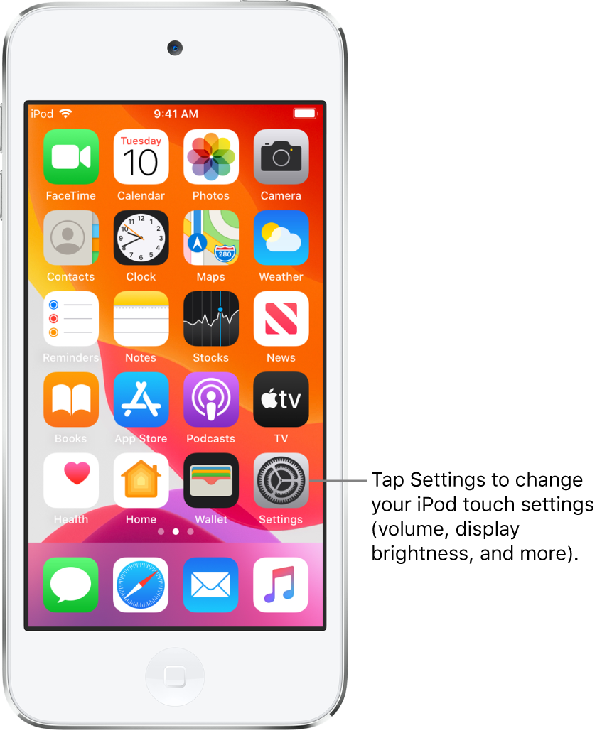 The Home screen with several icons, including the Settings icon, which you can tap to change your iPod touch sound volume, screen brightness, and more.