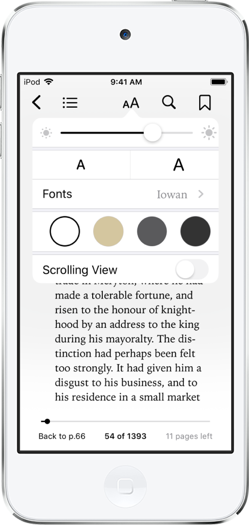 The appearance menu showing controls for, from top to bottom, brightness, font size, font, page color, and scrolling view.