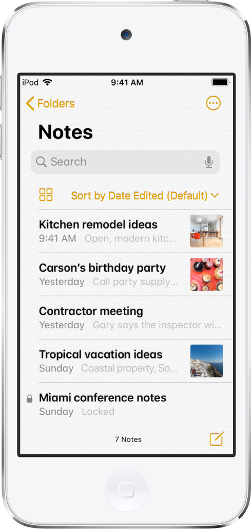 The notes list with the search field at the top.