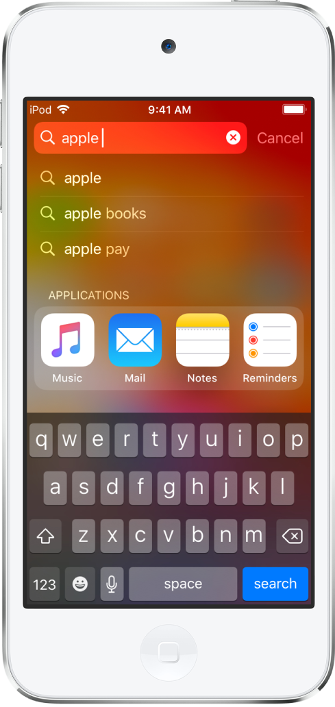 iPodtouch에서 검색이 표시된 화면. 상단에 검색 텍스트 'apple'이 적힌 검색 필드가 있고 그 아래에는 대상 텍스트에 대한 검색 결과가 표시됨.