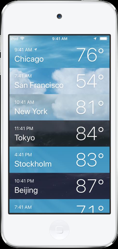 도시의 시간 및 현재 기온이 표시된 도시 목록.