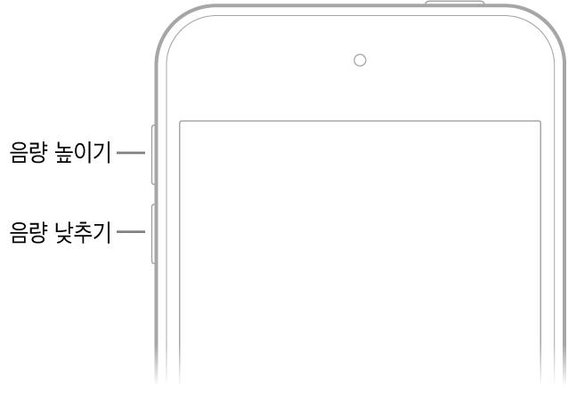 음량 높이기 버튼과 음량 낮추기 버튼이 왼쪽 상단에 있는 iPhone의 전면 상단 부분.