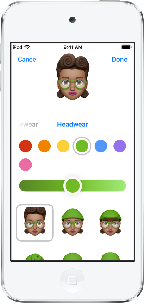 상단에 생성되고 있는 캐릭터, 그 아래에는 사용자화를 위한 기능, 하단에는 선택된 기능에 대한 옵션이 있는 미모티콘 생성 화면. 완료 버튼이 오른쪽 상단에 있고 취소 버튼이 왼쪽 상단에 있음.