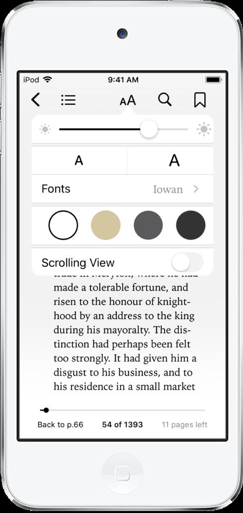 위쪽에서 아래쪽 방향으로 밝기, 서체 크기, 서체, 페이지 색상 및 스크롤 뷰를 변경할 수 있는 제어기를 표시하는 모양 메뉴.