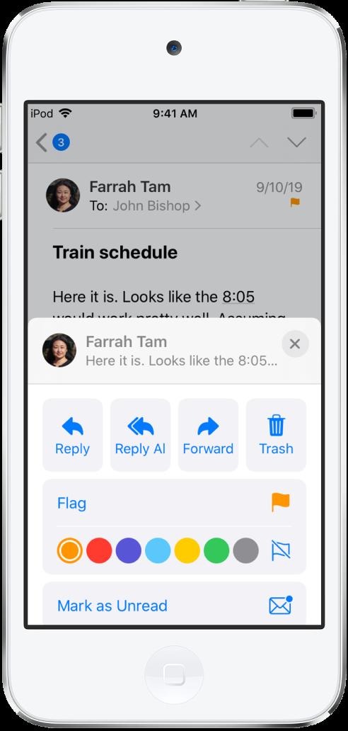 답장 옵션이 표시된 이메일, 아래에는 깃발 색상이 표시됨.