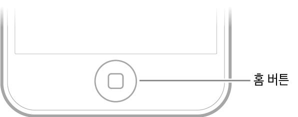 iPodtouch의 하단에 있는 홈 버튼.