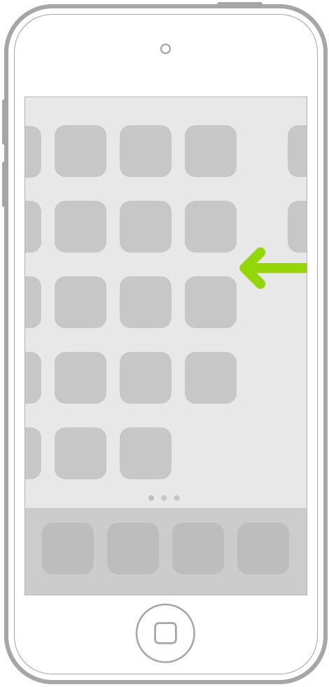다른 홈 화면 페이지에서 앱을 탐색하기 위해 쓸어넘기는 동작을 나타내는 그림.