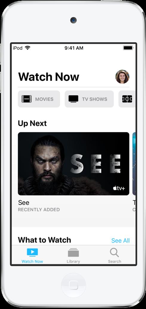 지금 보기 화면에 동영상, TV 프로그램 및 스포츠 버튼이 상단 행에 표시됨. 중앙에 있는 재생 대기 목록 행. 하단 왼쪽부터 오른쪽으로 지금 보기, 보관함 및 검색 탭이 나열됨.