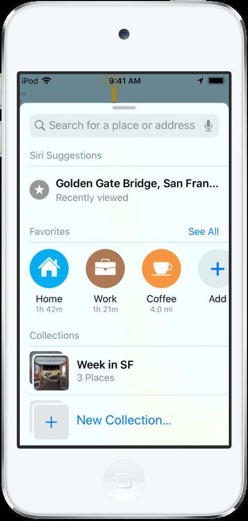 화면을 채운 검색 카드. 모음 섹션이 검색 필드 및 즐겨찾기 행 아래에 나타남. '샌프란시스코에서의 일주일'이라는 이름의 모음과 새로운 모음 생성 옵션이 있는 모음 목록.