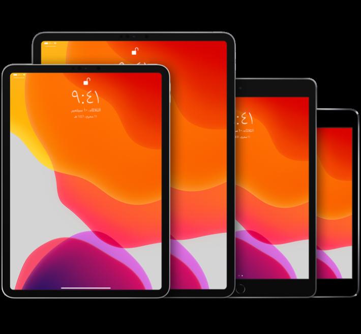 iPadPro(١٠٫٥ بوصة) وiPadPro(١٢٫٩ بوصة) (الجيل الثاني) وiPadAir (الجيل الثالث) وiPadmini (الجيل الخامس)
