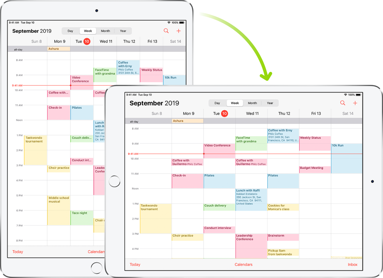 In the background, iPad displays a Calendar screen in portrait orientation; in the foreground, iPad is rotated and shows the Calendar screen in landscape orientation.