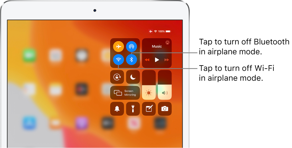 Control Center with airplane mode on, with callouts explaining that tapping the bottom-left button in the top-left group of controls turns off Wi-Fi and tapping the bottom-right button in that group turns off Bluetooth.