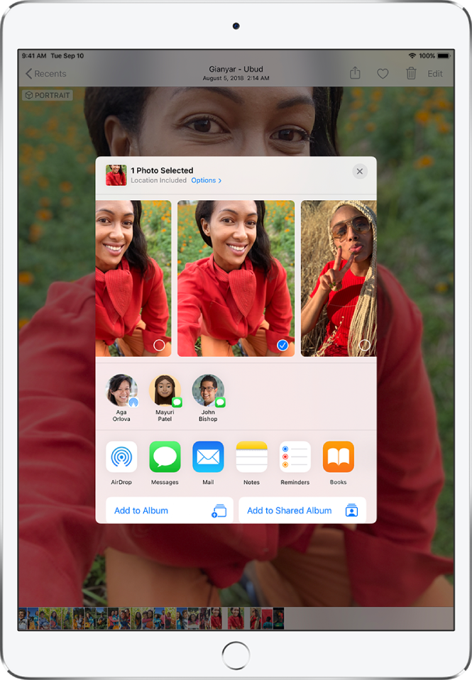 The Sharing screen with photos across the top; one photo is selected, indicated with a white checkmark in a blue circle. The row beneath the photos shows friends you can share with using AirDrop. Below that are other sharing options, including, from left to right, Messages, Mail, Shared Albums, Add to Notes, Save PDF to Books, and More. In the bottom row are the Copy, Save to Files, Copy iCloud Link, Slideshow, AirPlay, Add to Album, Use as Wallpaper, Hide, Duplicate, Assign to Contact, Print, and More buttons.