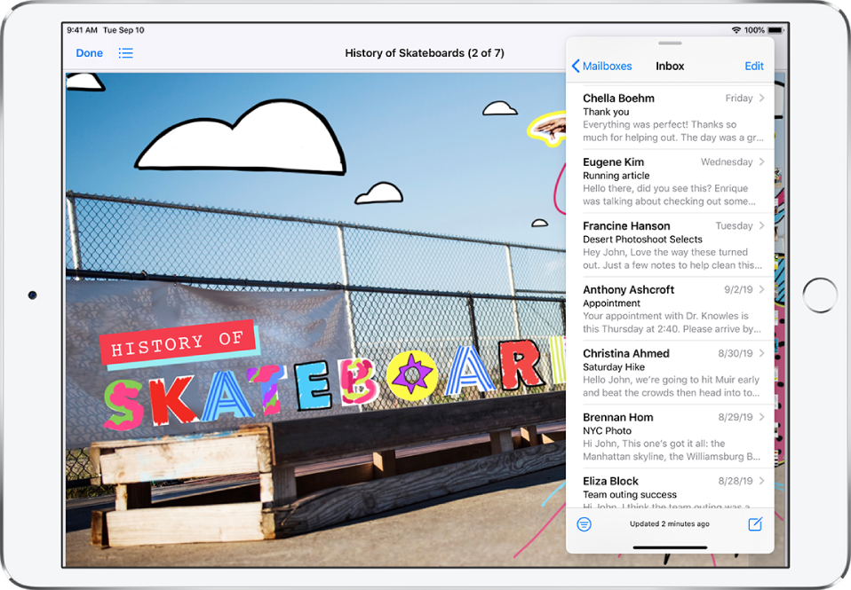 A graphics app fills the screen. Mail is open in a Slide Over window on the right side of the screen.